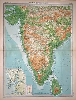 1920 LARGE MAP ~ INDIA ~ SOUTHERN SECTION ~ INSET BOMBAY ~ 23
