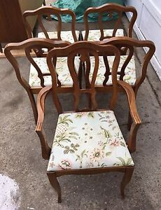 Antique French Provincial (fruitwood) Table & 5 chair set