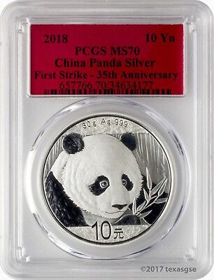 2018 10 Yuan China Silver Panda Coin 30 Gram  999 Silver Pcgs Ms70 First Strike