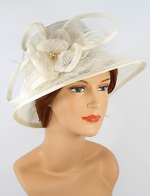 New Woman Church Derby Wedding Party Sinamay Dress Hat 7045 Off White