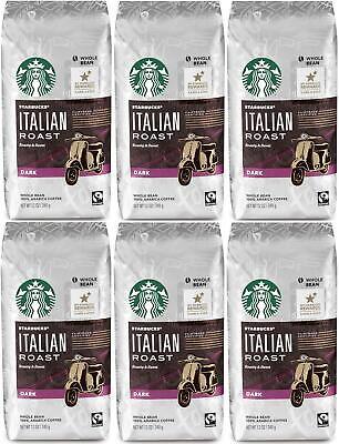 PACK OF 6 Starbucks Italian Roast Whole Bean Coffee 12 oz ea Best Before 7/2020