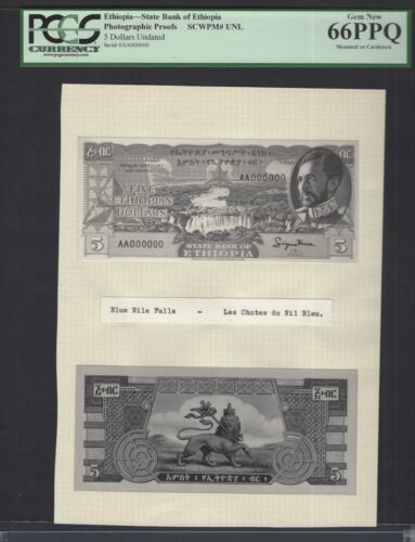 Ethiopia 5 Dollars Undated Pick Unlisted Photographic Proof Uncirculated