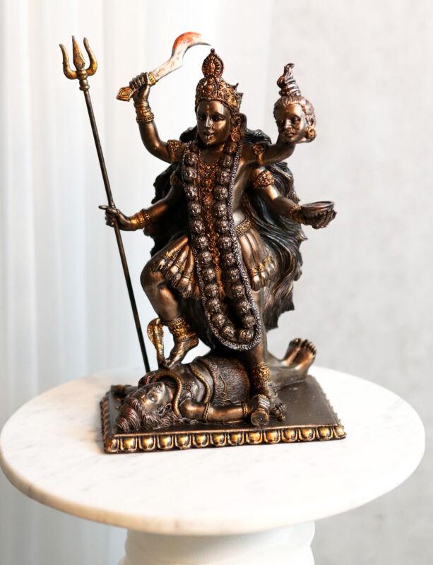 Hindu Devi Goddess Of Death Doomsday Kali Shakti Trampling Lord Shiva Statue