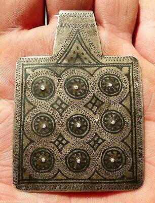 72mm Pendant Silver Niellé Antique Morocco Collier Berber Antique Silver Pendant