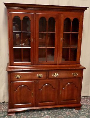COLONIAL CHERRY CHINA CABINET Lighted Hutch VINTAGE