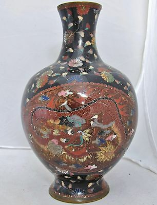 Antique Japanese Meiji Goldstone Cloisonne Vase with PHOENIX & DRAGON  (7.45