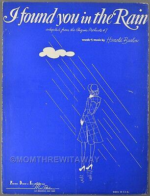 1941 I FOUND YOU IN THE RAIN Harold Barlow Sheet Music Chopin Prelude #7 Chopin Prelude Sheet Music