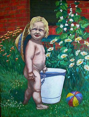 älteres Ölgemälde - entzückendes Kleinkind im sommerlichen Garten - Kleinkind Strohhut