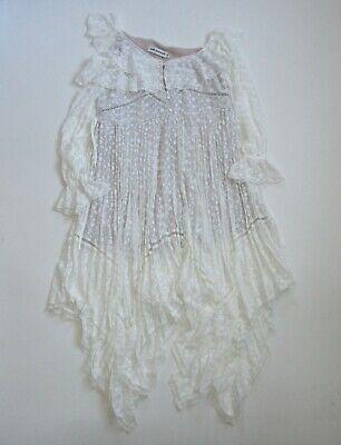 NWT Self Portrait Daisy Midi in White Off Shoulder Asymmetrical Dress UK M US 6