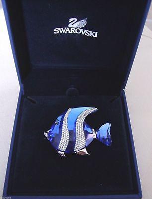 Swarovski Crystal Figure silver Angel Blue Fish Colina Retired Pin (Swarovski Crystal Angel Pin)