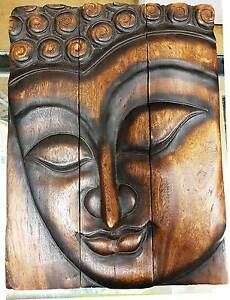 """Wooden Wall Art -  """"Face of Buddha"""" Richmond Yarra Area Preview"""