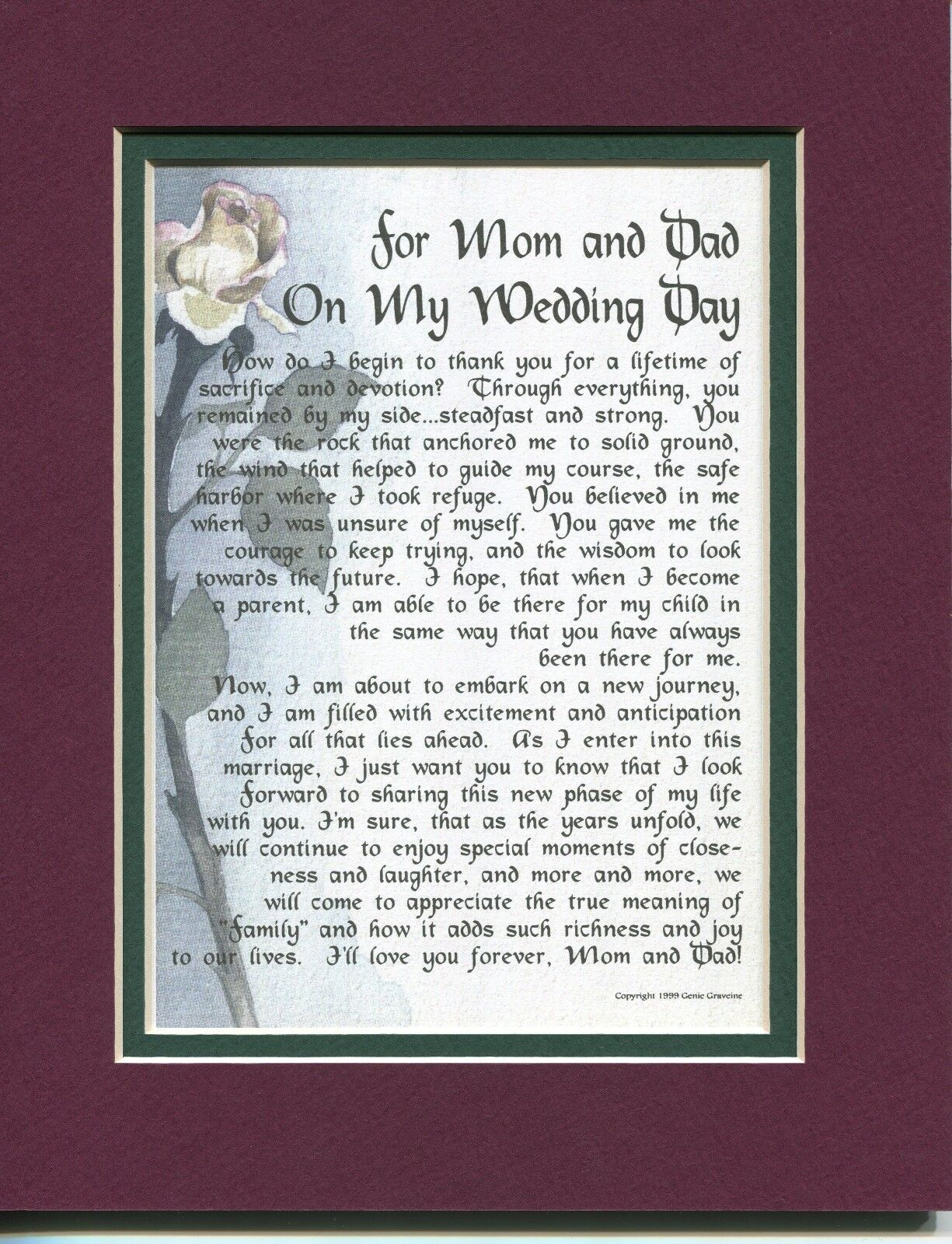 """""""For Mom and Dad On My Wedding Day"""" #114, A Gift Present Poe"""