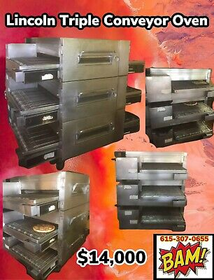 Lincoln Impinger Conveyor Triple Stack Pizza Gas Oven 1600 32 Conveyor