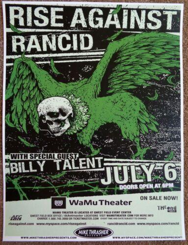 RISE AGAINST & RANCID 2009 Gig POSTER Seattle Washington Concert