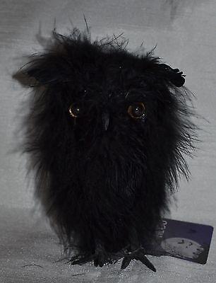 Cute Little Black Fuzzy Feather Owl Figure~Halloween - Cute Halloween Decor