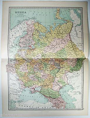 Original 1875 Map of Czarist Russia by J Bartholomew