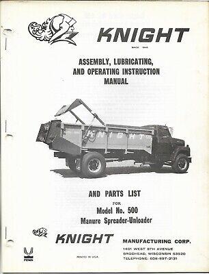 Knight Manure Spreader Unloader Model No. 500 Parts List Operating Manual
