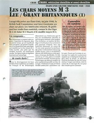 Char Tank M3 Lee/Grant UK US Army USA WWII FICHE FRANCE for sale  Shipping to Canada