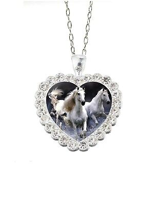 Clear Rhinestone Heart White Horses 20  Chain Glass Cabochon Pendant Necklace