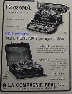 publicite machine a ecrire corona typewriter compagnie real de 1914 french ad ebay. Black Bedroom Furniture Sets. Home Design Ideas