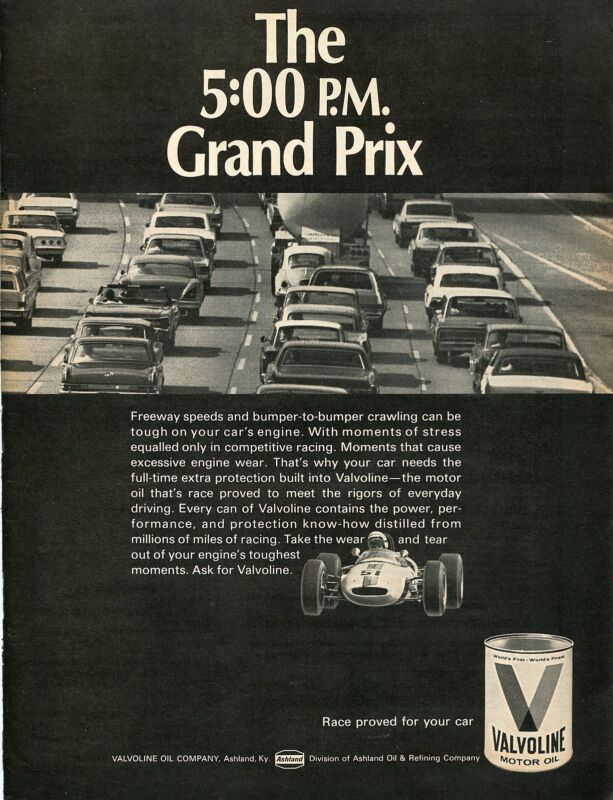 1968 Valvoline Race Proven Motor Oil The 5:00 P.M. Grand Prix Print Ad