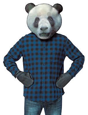 Panda Paws Halloween (Panda Bear Head Photo Print Mask Kit &  Paws Halloween Dress Up Rasta)