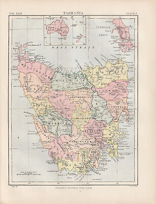 Tasmania Australia Original colour map 1875 W & A K Johnston