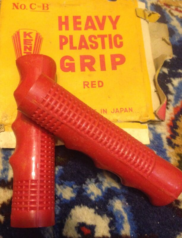 Handlebar Grips Kent, Japan. NOS 40's 50's 60's Red, with Finger grips