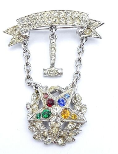 "Vintage Rhinestone Brooch ORDER OF THE EASTERN STAR MASONIC Jewelry 2"""