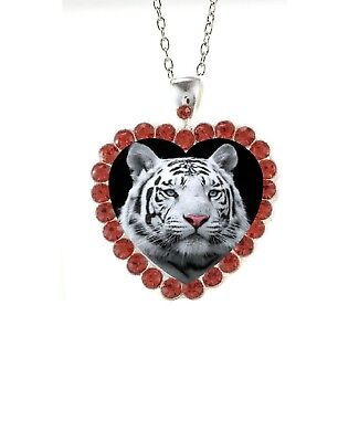 (Red Rhinestone Heart White Tiger Head  20