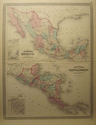 Johnson's Antique 1867 Map of Mexico and Central America