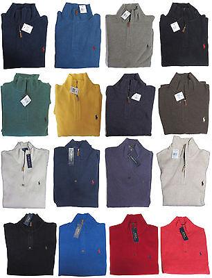 RL Polo Ralph Lauren Mens Pony Logo Mockneck Leather Fleece Half Zip Sweater  Half Zip Logo Sweater