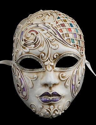 Mask from Venice Volto Female Athena -carnival Venetian Red Paper Mache 308