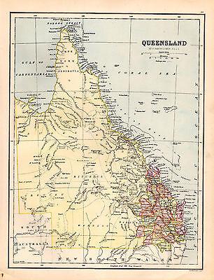 Map of Queensland Australia Large 1880 Original Antique