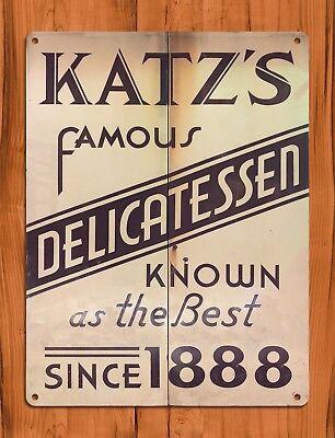 "TIN SIGN ""Katz's Delicatessen"" New York Deli Rustic Kitchen Wall Decor"