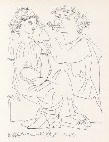 Pablo Picasso, Flutist and Young Woman with Tambourine, Vollard Suite