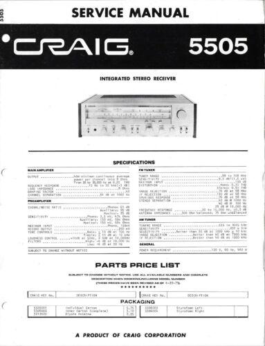 Craig 5505 Integrated Receiver Service Manual - Original, Not Copy