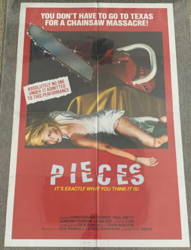 1982 one sheet horror movie poster ~ PIECES ~ 27x40