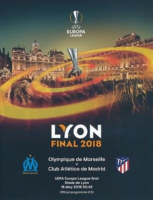 UEFA EUROPA LEAGUE  FINAL 2018 Atletico Madrid v Marseille - Official Programme