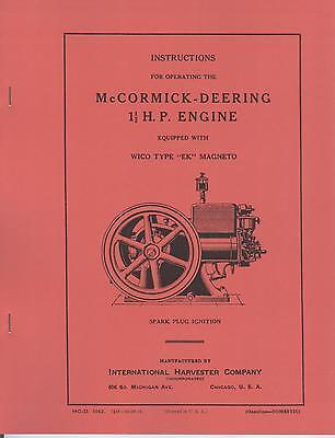 IHC McCormick Deering 1 1/2 HP Engine Wico EK Magneto International Harvester