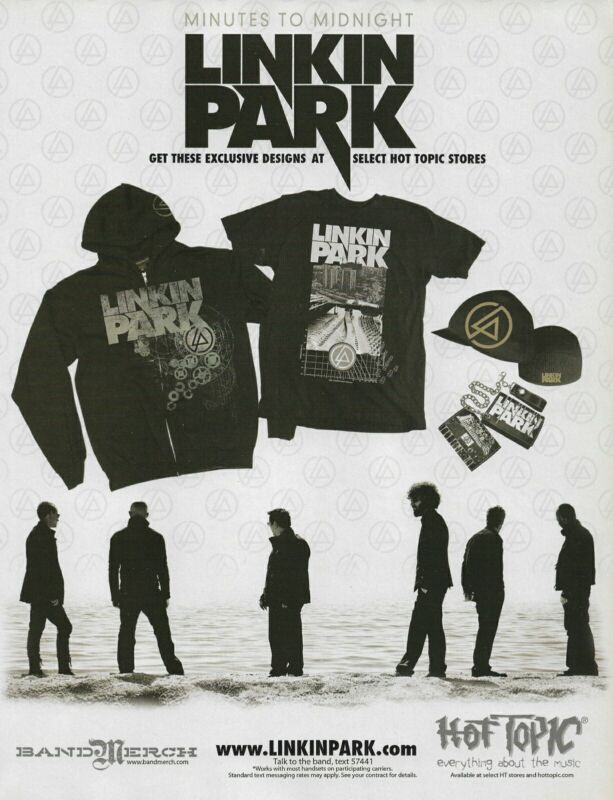 Linkin Park Minutes To Midnight Hot Topic 2007 8x11 Promo Poster Ad