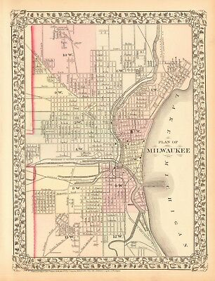 1874 ANTIQUE MAP - USA - PLAN OF MILWAUKEE