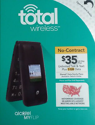 BRAND NEW - Alcatel My Flip MyFlip Prepaid Basic Cell Phone - Total Wireless