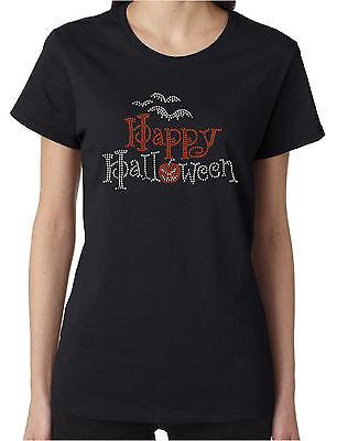 Happy Halloween Bats Pumpkin Rhinestone Women's Short Sleeve Shirts - Womens Rhinestone Halloween Shirts