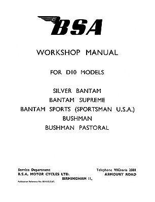 BSA Bantam D10 Models Workshop manual