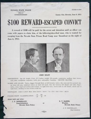 Nevada State Prison Escaped Convict orig 1911 State Police Wanted Poster