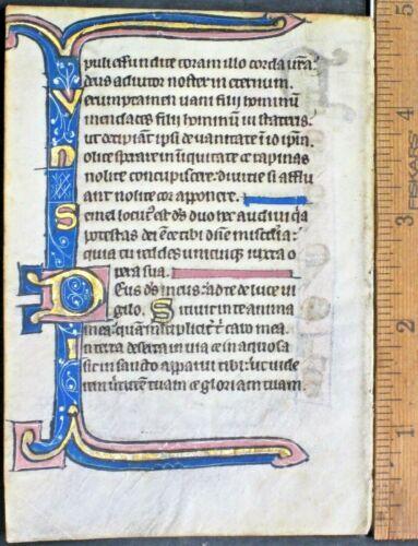Illuminated medieval Psalter leaf,vellum,lg Gold,initials & border,c.1275