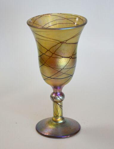 Gold Aurene Wine Glass With Red Threading Design by Saul Alcaraz Blown Art Glass