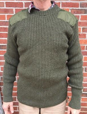 USMC MARINE CORP WOOL SWEATER MENS Sz 48 M - L PULLOVER Olive Green w Patches for sale  Lexington