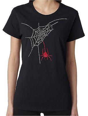 Spider Web Rhinestone and Glitter Women's Short Sleeve Shirts Halloween - Womens Rhinestone Halloween Shirts